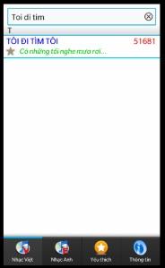Màn hình ứng dụng VietKaraoke Finder (Nguồn: http://blackberryvietnam.net/threads/vietkaraoke-finder-tim-ma-bai-hat-karaoke-cho-bb-10.16251/)